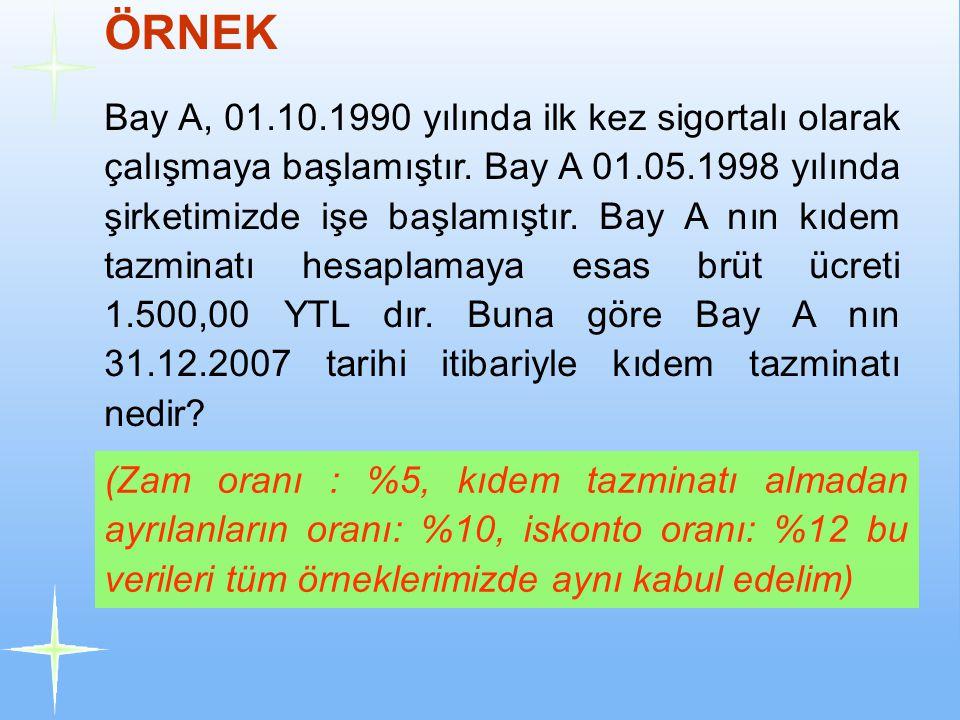 Bay A, 01.10.1990 yılında ilk kez sigortalı olarak çalışmaya başlamıştır. Bay A 01.05.1998 yılında şirketimizde işe başlamıştır. Bay A nın kıdem tazmi