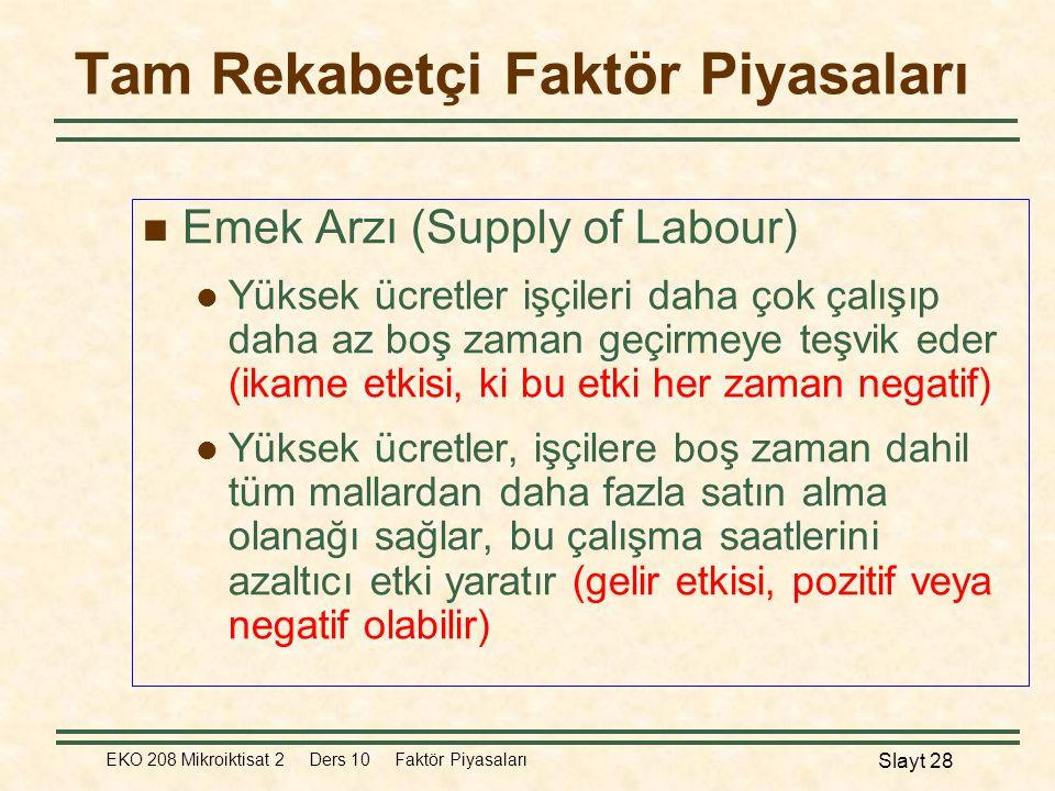 EKO 208 Mikroiktisat 2 Ders 10 Faktör Piyasaları Slayt 28 Tam Rekabetçi Faktör Piyasaları  Emek Arzı (Supply of Labour)  Yüksek ücretler işçileri da