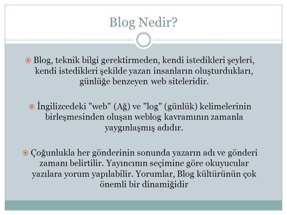 Blog' un Tarihçesi  Blogların kullanımı 1999 yılında Blogger ın bu hizmeti vermeye başlaması ve kısa süre sonra bunu ücretsiz hale getirmesi ile yaygınlaşmıştır.