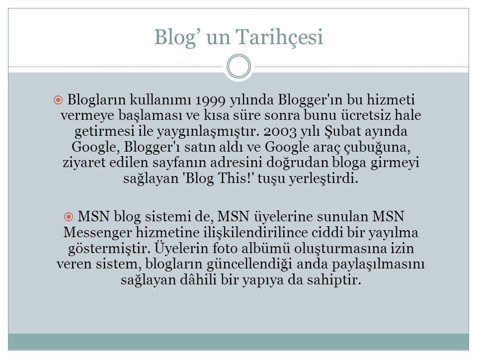 Türkiye' de Blog  Blog dünyada çok önemsenen ve ciddiye alınan bir kavram olmasına rağmen, Türkiye internetinde ağ günlükleri 2005 yılına kadar çok fazla fark edilmiş değildi.