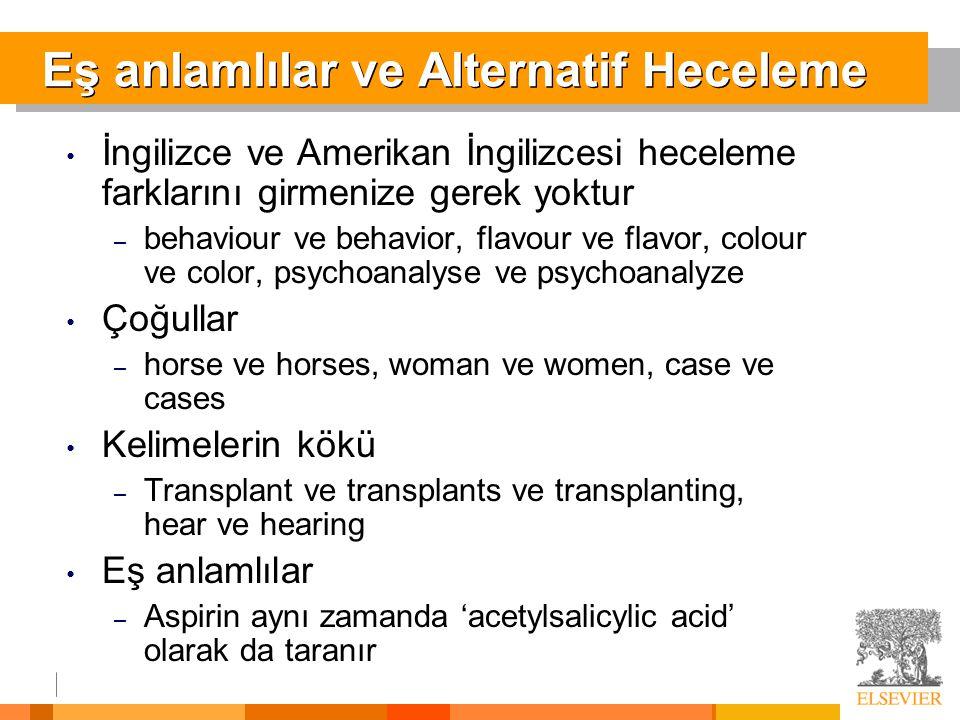 Eş anlamlılar ve Alternatif Heceleme • İngilizce ve Amerikan İngilizcesi heceleme farklarını girmenize gerek yoktur – behaviour ve behavior, flavour v