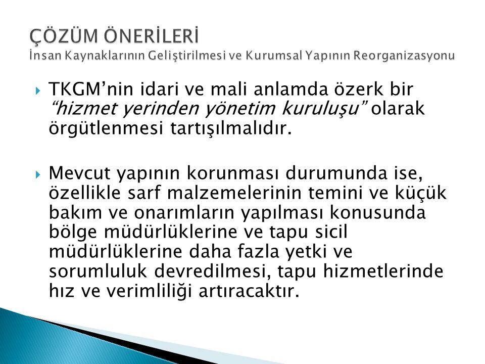 """ TKGM'nin idari ve mali anlamda özerk bir """"hizmet yerinden yönetim kuruluşu"""" olarak örgütlenmesi tartışılmalıdır.  Mevcut yapının korunması durumund"""