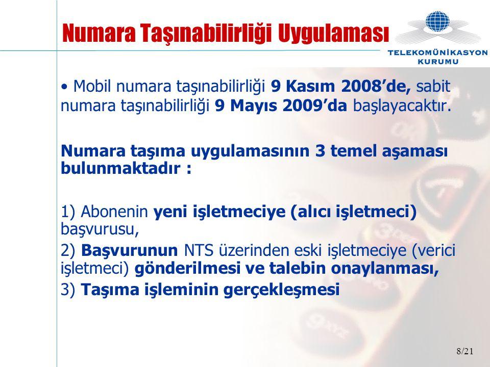 8/21 • Mobil numara taşınabilirliği 9 Kasım 2008'de, sabit numara taşınabilirliği 9 Mayıs 2009'da başlayacaktır. Numara taşıma uygulamasının 3 temel a