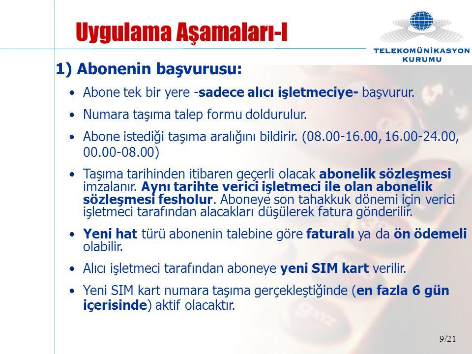 10/21 Aboneden başvuru sırasında istenecek bilgiler : •Bireysel abone ise; T.C.