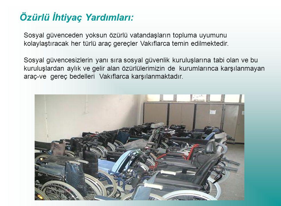 Özürlü İhtiyaç Yardımları: Sosyal güvenceden yoksun özürlü vatandaşların topluma uyumunu kolaylaştıracak her türlü araç gereçler Vakıflarca temin edilmektedir.