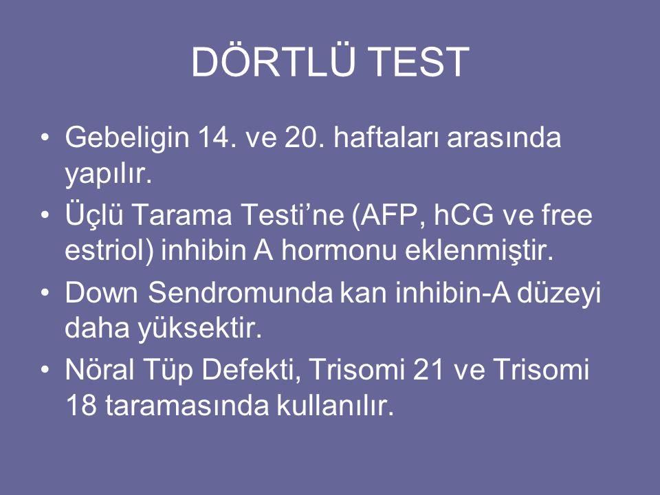 DÖRTLÜ TEST •Gebeligin 14. ve 20. haftaları arasında yapılır. •Üçlü Tarama Testi'ne (AFP, hCG ve free estriol) inhibin A hormonu eklenmiştir. •Down Se