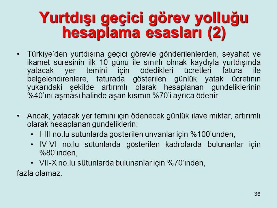 Yurtdışı geçici görev yolluğu hesaplama esasları (2) •Türkiye'den yurtdışına geçici görevle gönderilenlerden, seyahat ve ikamet süresinin ilk 10 günü ile sınırlı olmak kaydıyla yurtdışında yatacak yer temini için ödedikleri ücretleri fatura ile belgelendirenlere, faturada gösterilen günlük yatak ücretinin yukarıdaki şekilde artırımlı olarak hesaplanan gündeliklerinin %40'ını aşması halinde aşan kısmın %70'i ayrıca ödenir.