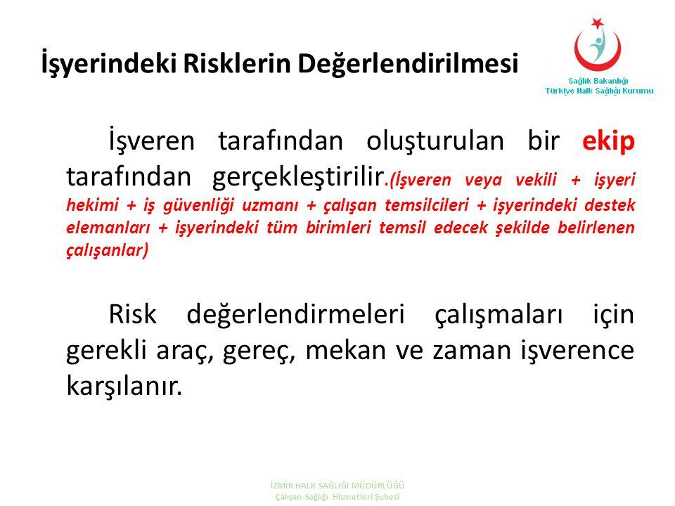 İşyerindeki Risklerin Değerlendirilmesi İşveren tarafından oluşturulan bir ekip tarafından gerçekleştirilir.(İşveren veya vekili + işyeri hekimi + iş