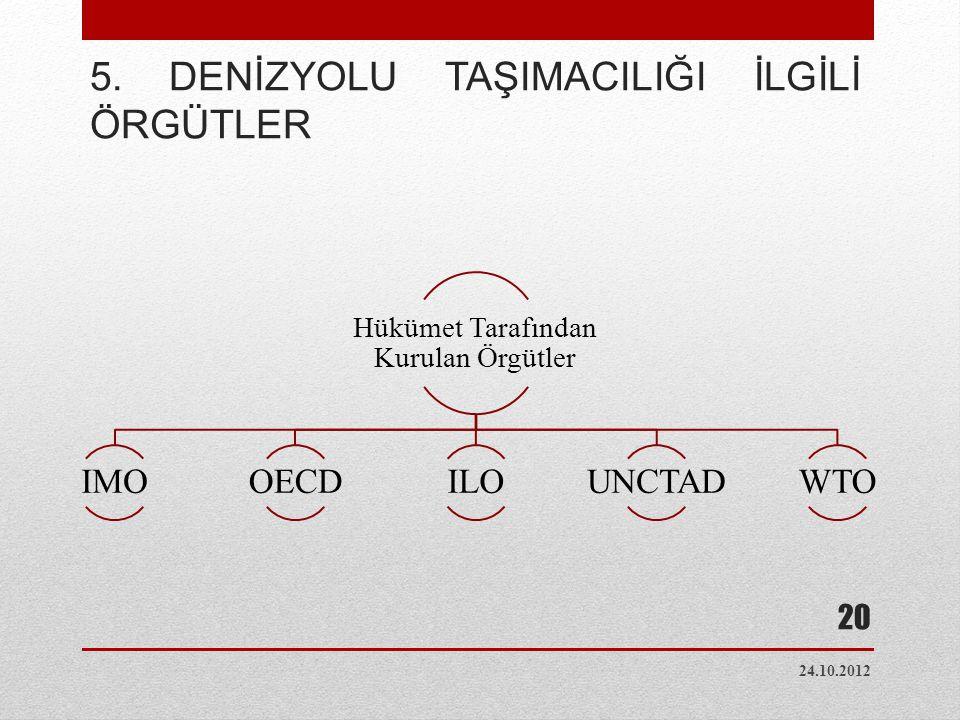 5. DENİZYOLU TAŞIMACILIĞI İLGİLİ ÖRGÜTLER Hükümet Tarafından Kurulan Örgütler IMOOECDILOUNCTADWTO 24.10.2012 20