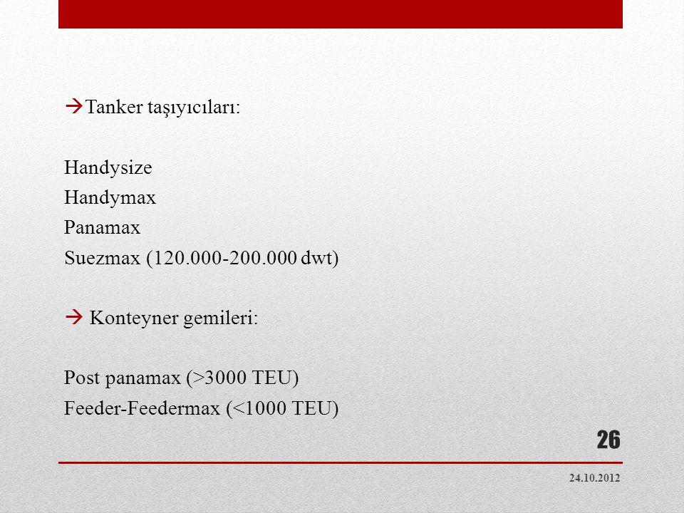 Tanker taşıyıcıları: Handysize Handymax Panamax Suezmax (120.000-200.000 dwt)  Konteyner gemileri: Post panamax (>3000 TEU) Feeder-Feedermax (<1000