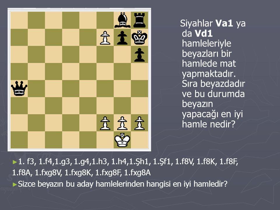 Siyahlar Va1 ya da Vd1 hamleleriyle beyazları bir hamlede mat yapmaktadır. Sıra beyazdadır ve bu durumda beyazın yapacağı en iyi hamle nedir? ►1►1. f3
