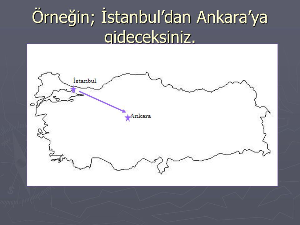 Örneğin; İstanbul'dan Ankara'ya gideceksiniz.