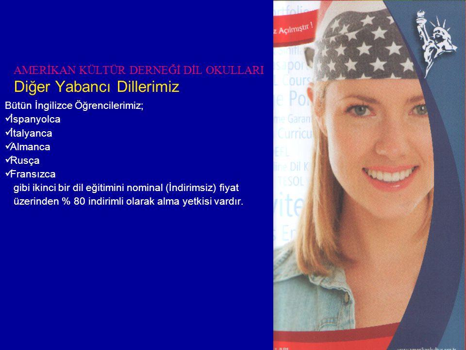 AMERİKAN KÜLTÜR DERNEĞİ DİL OKULLARI Diğer Yabancı Dillerimiz Bütün İngilizce Öğrencilerimiz;  İspanyolca  İtalyanca  Almanca  Rusça  Fransızca gibi ikinci bir dil eğitimini nominal (İndirimsiz) fiyat üzerinden % 80 indirimli olarak alma yetkisi vardır.