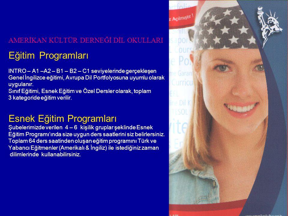 AMERİKAN KÜLTÜR DERNEĞİ DİL OKULLARI Eğitim Programları INTRO – A1 –A2 – B1 – B2 – C1 seviyelerinde gerçekleşen Genel İngilizce eğitimi, Avrupa Dil Portfolyosuna uyumlu olarak uygulanır.