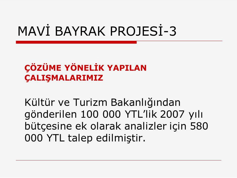 MAVİ BAYRAK PROJESİ-3 ÇÖZÜME YÖNELİK YAPILAN ÇALIŞMALARIMIZ Kültür ve Turizm Bakanlığından gönderilen 100 000 YTL'lik 2007 yılı bütçesine ek olarak an