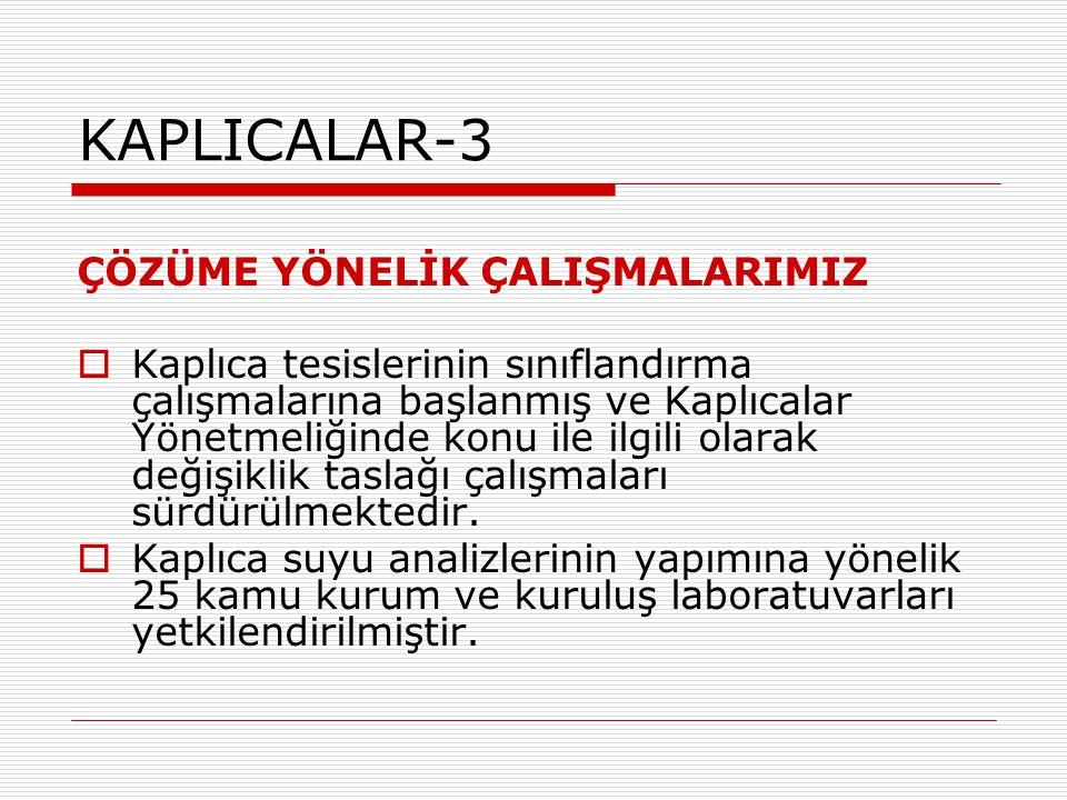 KAPLICALAR-3 ÇÖZÜME YÖNELİK ÇALIŞMALARIMIZ  Kaplıca tesislerinin sınıflandırma çalışmalarına başlanmış ve Kaplıcalar Yönetmeliğinde konu ile ilgili o
