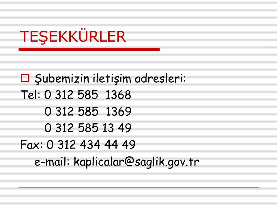 TEŞEKKÜRLER  Şubemizin iletişim adresleri: Tel: 0 312 585 1368 0 312 585 1369 0 312 585 13 49 Fax: 0 312 434 44 49 e-mail: kaplicalar@saglik.gov.tr