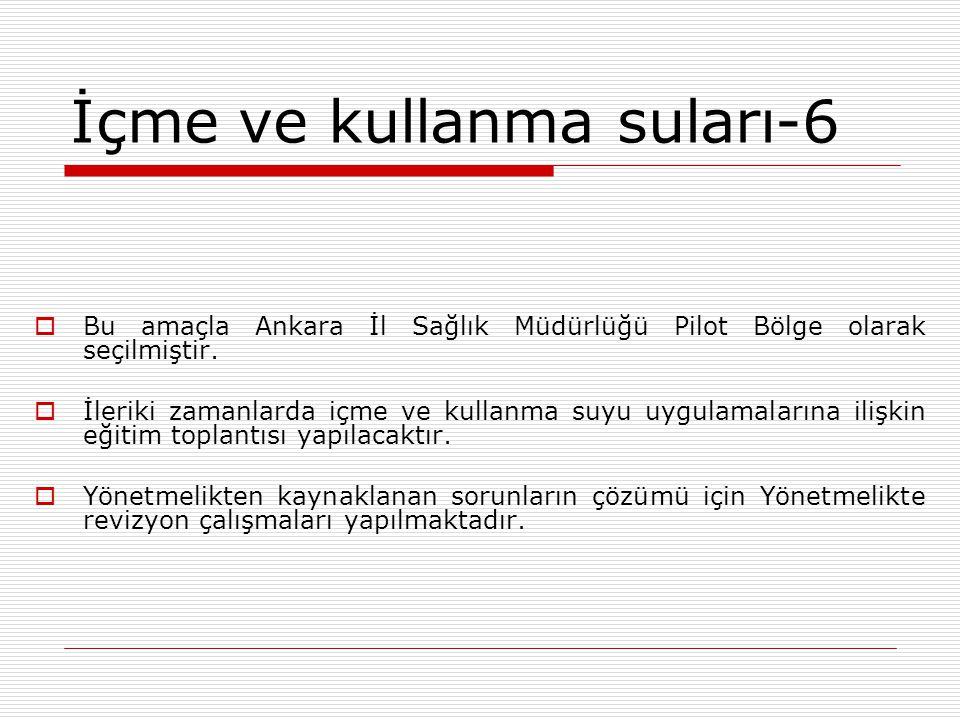 İçme ve kullanma suları-6  Bu amaçla Ankara İl Sağlık Müdürlüğü Pilot Bölge olarak seçilmiştir.  İleriki zamanlarda içme ve kullanma suyu uygulamala
