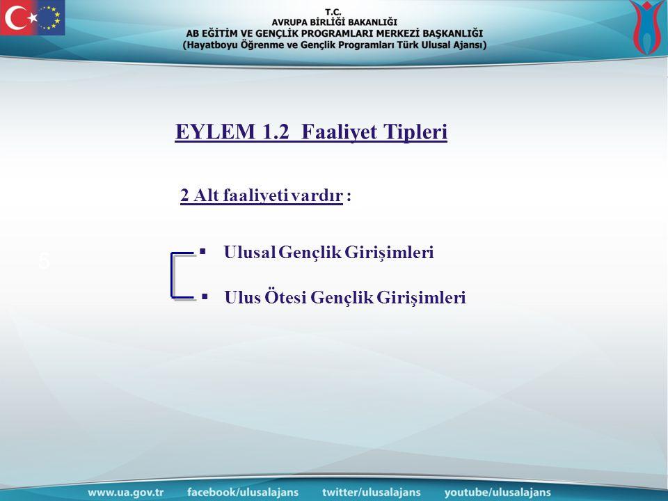 www.ua.gov. tr 5 2 Alt faaliyeti vardır :  Ulusal Gençlik Girişimleri  Ulus Ötesi Gençlik Girişimleri EYLEM 1.2 Faaliyet Tipleri