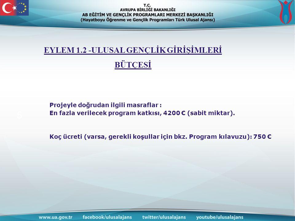 www.ua.gov. tr 5 Projeyle doğrudan ilgili masraflar : En fazla verilecek program katkısı, 4200 € (sabit miktar). EYLEM 1.2 -ULUSAL GENÇLİK GİRİŞİMLERİ