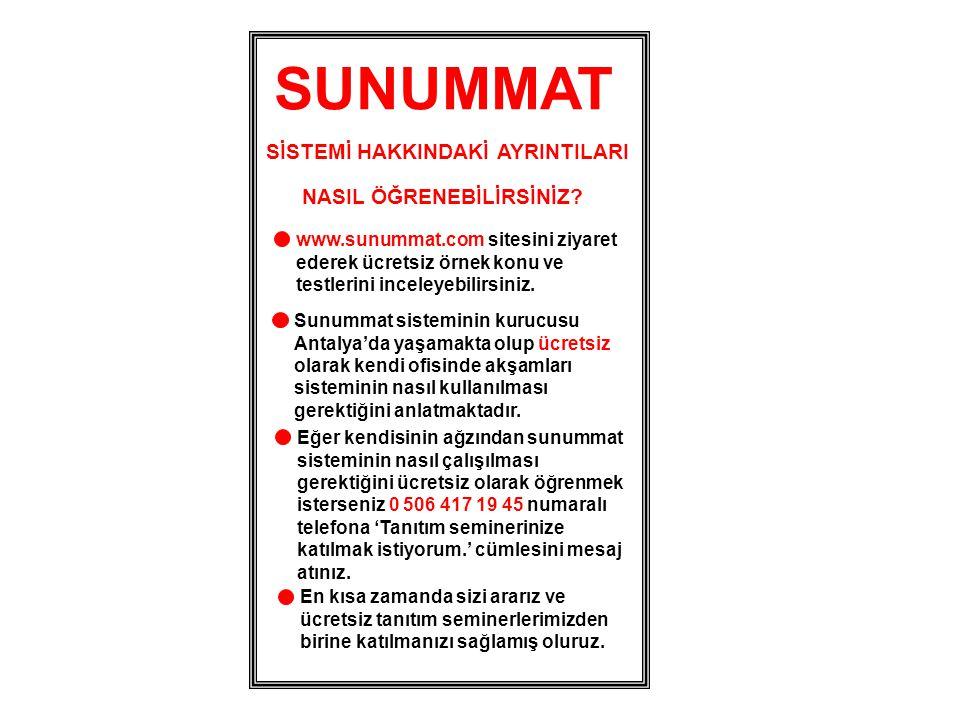 SUNUMMAT SİSTEMİ HAKKINDAKİ AYRINTILARI NASIL ÖĞRENEBİLİRSİNİZ? www.sunummat.com sitesini ziyaret ederek ücretsiz örnek konu ve testlerini inceleyebil