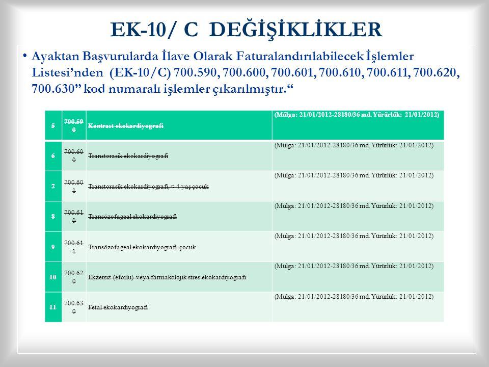 EK-10/ C DEĞİŞİKLİKLER • •Ayaktan Başvurularda İlave Olarak Faturalandırılabilecek İşlemler Listesi'nden (EK-10/C) 700.590, 700.600, 700.601, 700.610,