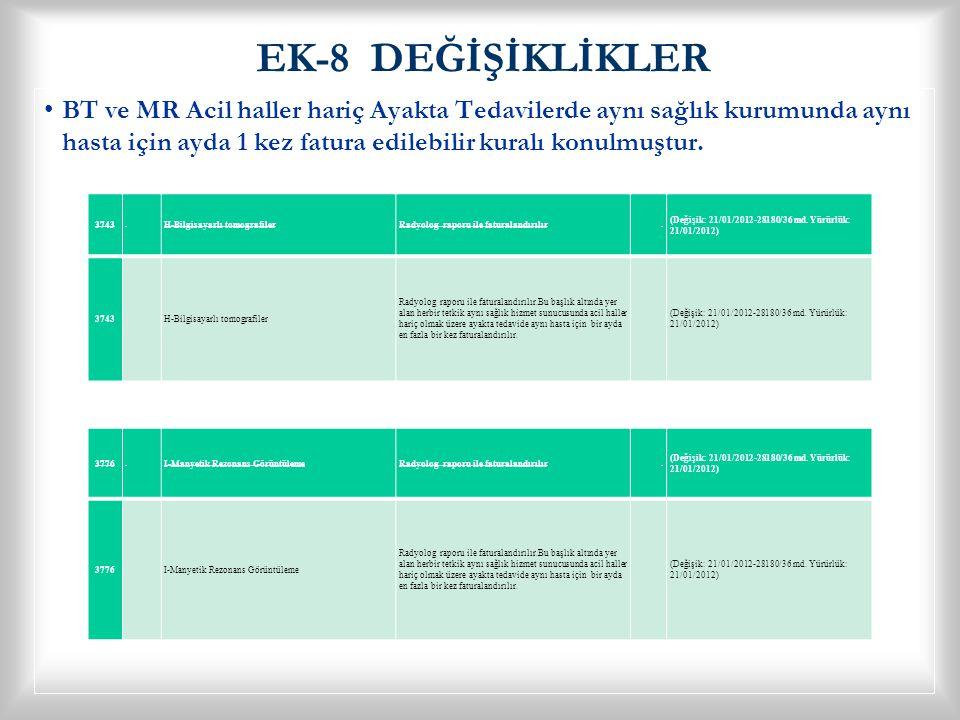 EK-8 DEĞİŞİKLİKLER • •BT ve MR Acil haller hariç Ayakta Tedavilerde aynı sağlık kurumunda aynı hasta için ayda 1 kez fatura edilebilir kuralı konulmuş