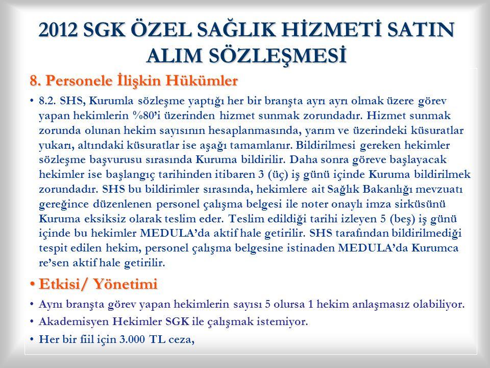 2012 SGK ÖZEL SAĞLIK HİZMETİ SATIN ALIM SÖZLEŞMESİ 8.