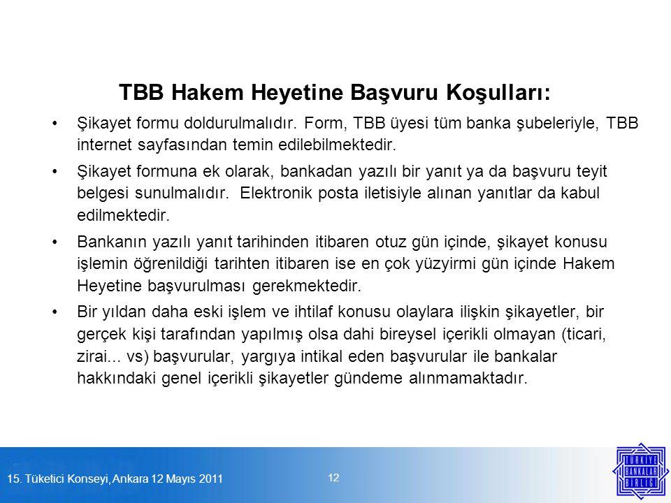 15. Tüketici Konseyi, Ankara 12 Mayıs 2011 12 TBB Hakem Heyetine Başvuru Koşulları: •Şikayet formu doldurulmalıdır. Form, TBB üyesi tüm banka şubeleri