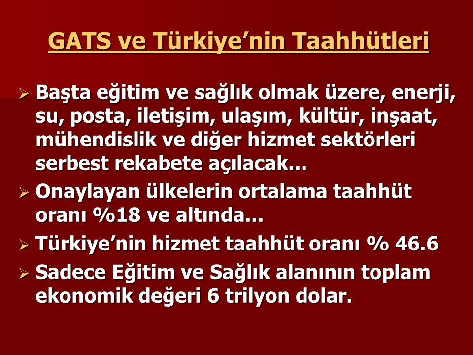 GATS ve Türkiye'nin Taahhütleri  Başta eğitim ve sağlık olmak üzere, enerji, su, posta, iletişim, ulaşım, kültür, inşaat, mühendislik ve diğer hizmet