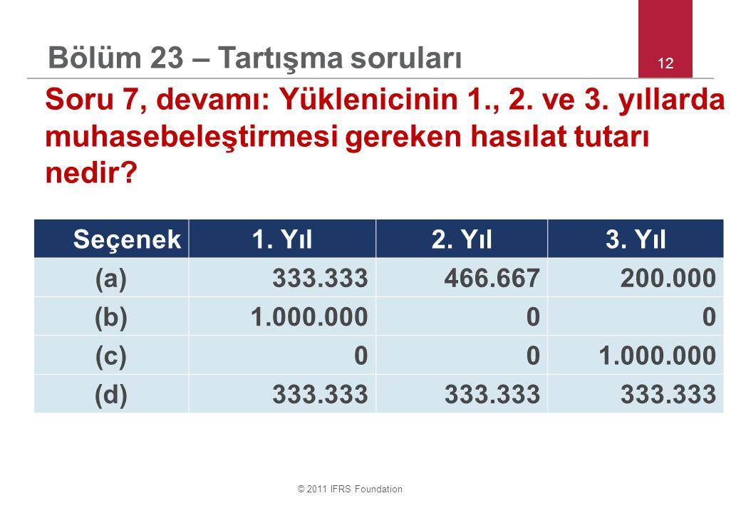 © 2011 IFRS Foundation 12 Soru 7, devamı: Yüklenicinin 1., 2. ve 3. yıllarda muhasebeleştirmesi gereken hasılat tutarı nedir? Seçenek1. Yıl2. Yıl3. Yı