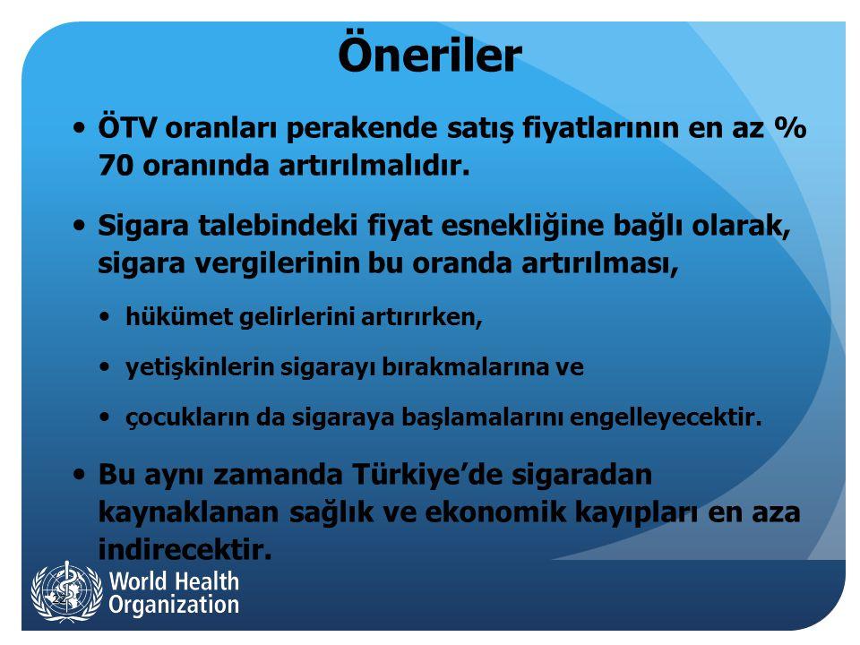 22 Öneriler  ÖTV oranları perakende satış fiyatlarının en az % 70 oranında artırılmalıdır.
