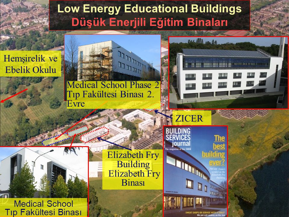 3 Low Energy Educational Buildings Düşük Enerjili Eğitim Binaları Elizabeth Fry Building Elizabeth Fry Binası ZICER Hemşirelik ve Ebelik Okulu Medical School Tıp Fakültesi Binası Medical School Phase 2 Tıp Fakültesi Binası 2.