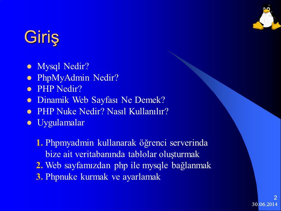 30.06.2014 3 Mysql Nedir. MYSQL veritabanı yönetim sistemidir.