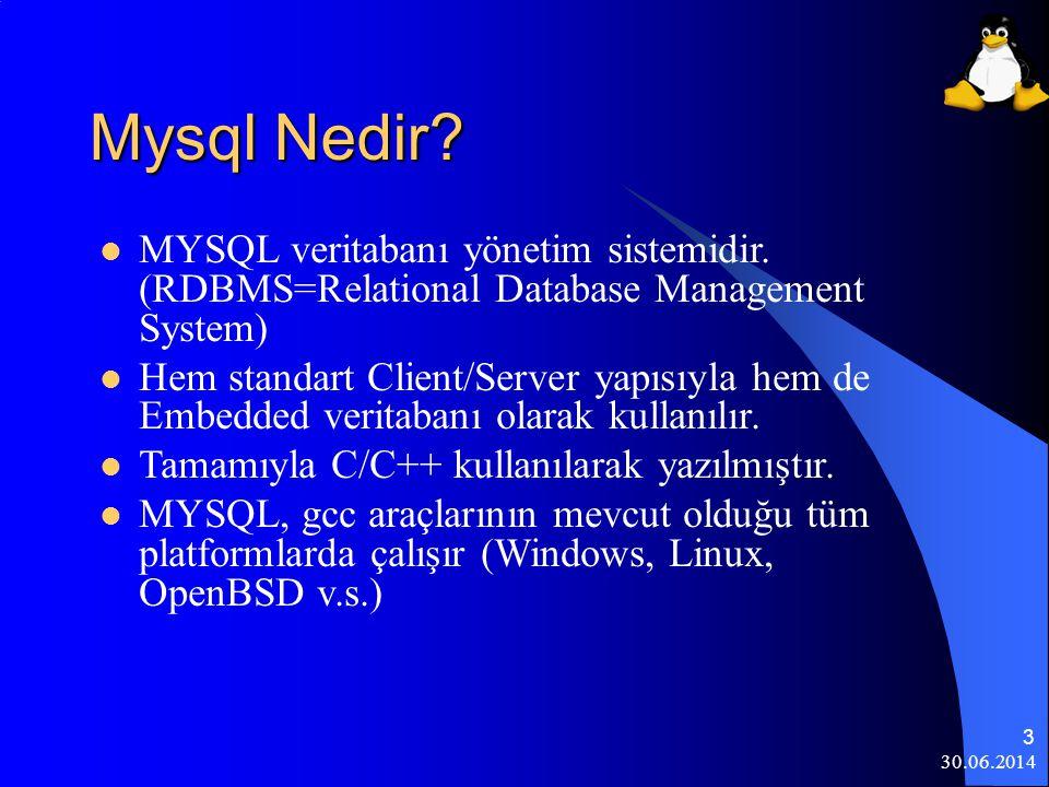 30.06.2014 4 Linux'da Mysql  Kurulumda seçildiği takdirde kurulacaktır.