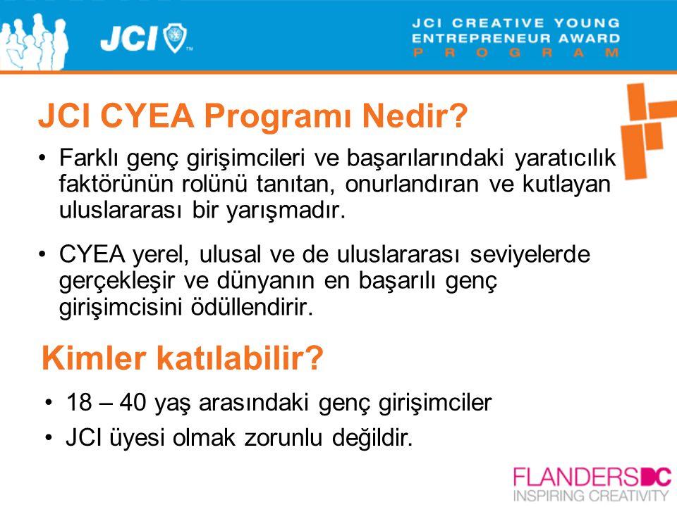 JCI CYEA Programı Nedir? •Farklı genç girişimcileri ve başarılarındaki yaratıcılık faktörünün rolünü tanıtan, onurlandıran ve kutlayan uluslararası bi