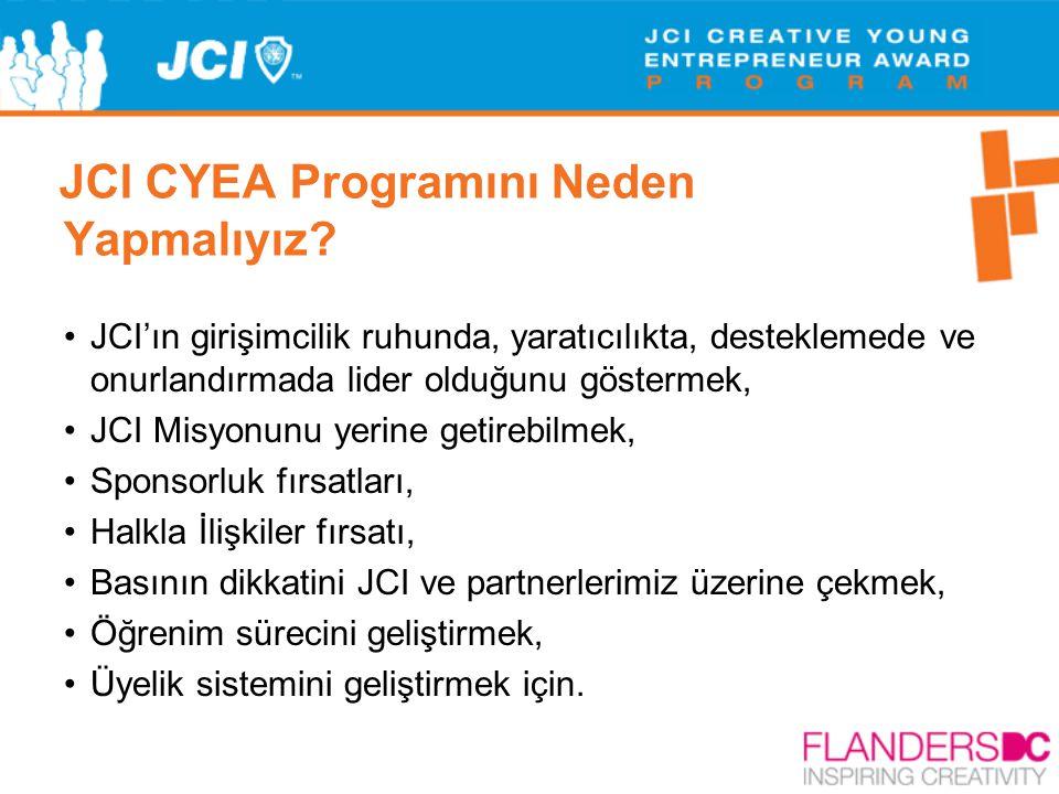 JCI CYEA Programını Neden Yapmalıyız? •JCI'ın girişimcilik ruhunda, yaratıcılıkta, desteklemede ve onurlandırmada lider olduğunu göstermek, •JCI Misyo
