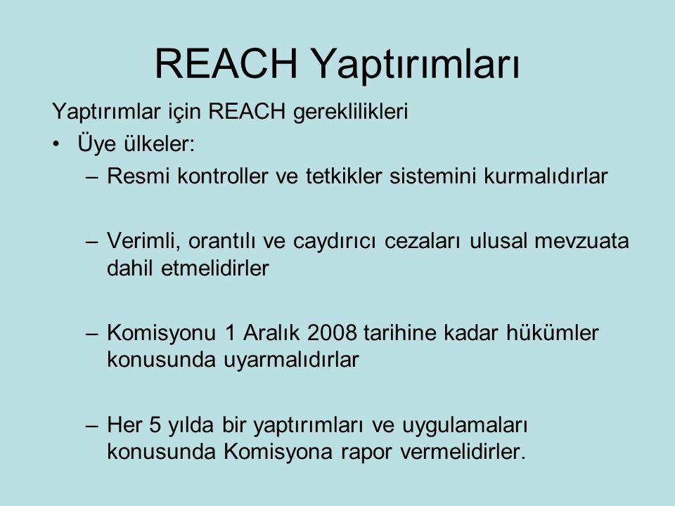 REACH Yaptırımları •Forum –AB çapında koordinasyon –Her üye ülke foruma katılır –Üyeler 3 yıllık dönem için atanırlar –Üyeler teknik danışmanlar tarafından desteklenir