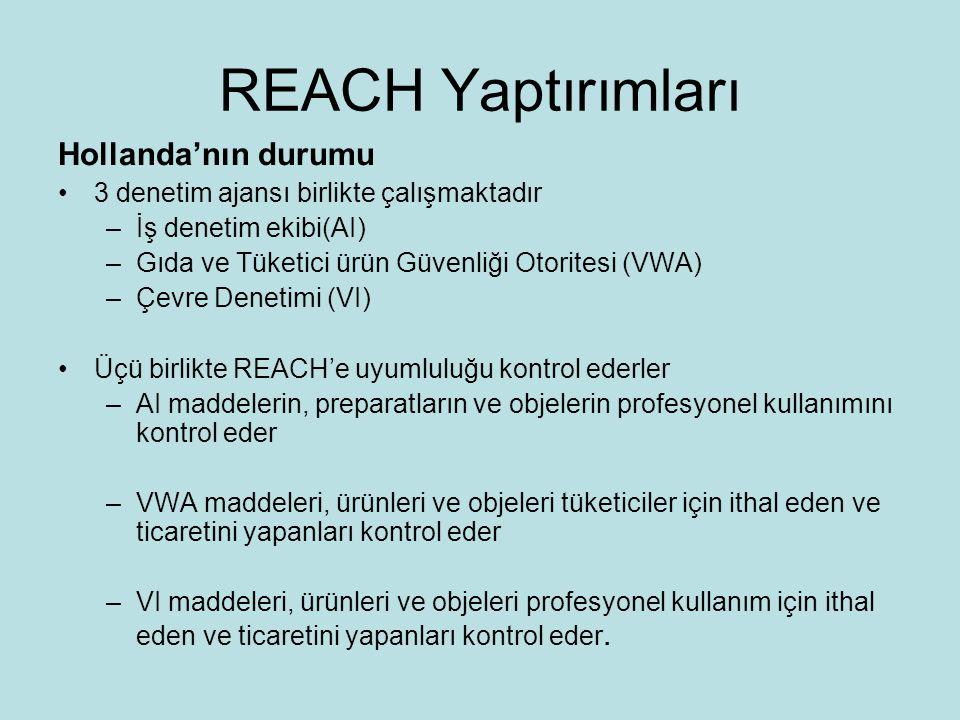 REACH Yaptırımları •Strateji –Tedarik zincirinin başındaki yaptırımlar •Ana hedef ithalatçılar ve üreticiler –Alt kullanım risklerini azaltmak –Yaptırım aktivitelerine öncelik vermek •Çevre ve insan sağlığı riskleri •Uyumlaştırma •Uyumlaştırma ve aksi davranışlar için motivasyonlar