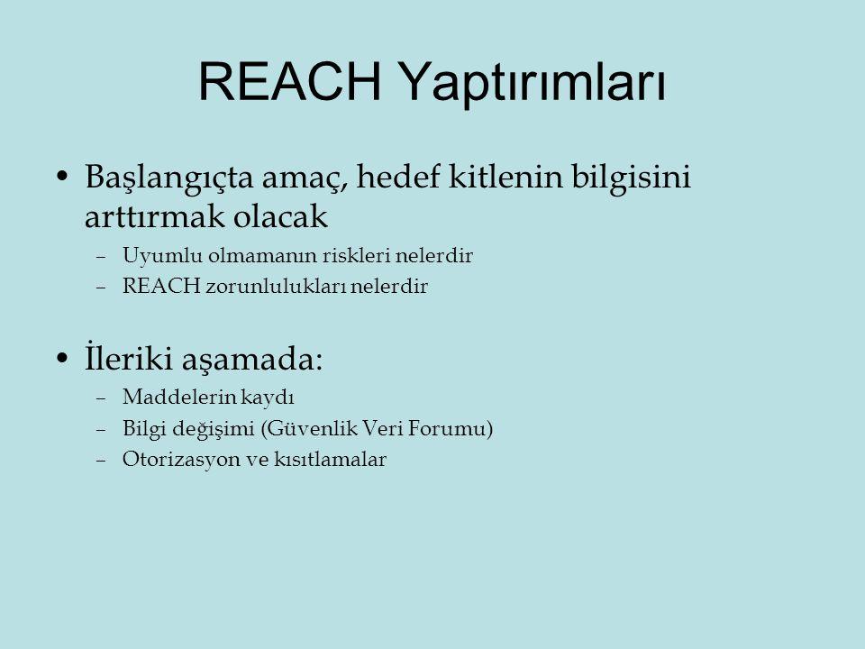 REACH Yaptırımları •Başlangıçta amaç, hedef kitlenin bilgisini arttırmak olacak –Uyumlu olmamanın riskleri nelerdir –REACH zorunlulukları nelerdir •İleriki aşamada: –Maddelerin kaydı –Bilgi değişimi (Güvenlik Veri Forumu) –Otorizasyon ve kısıtlamalar