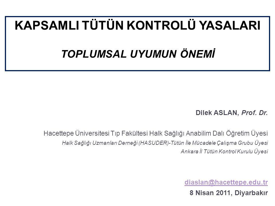 KAPSAMLI TÜTÜN KONTROLÜ YASALARI TOPLUMSAL UYUMUN ÖNEMİ Dilek ASLAN, Prof.