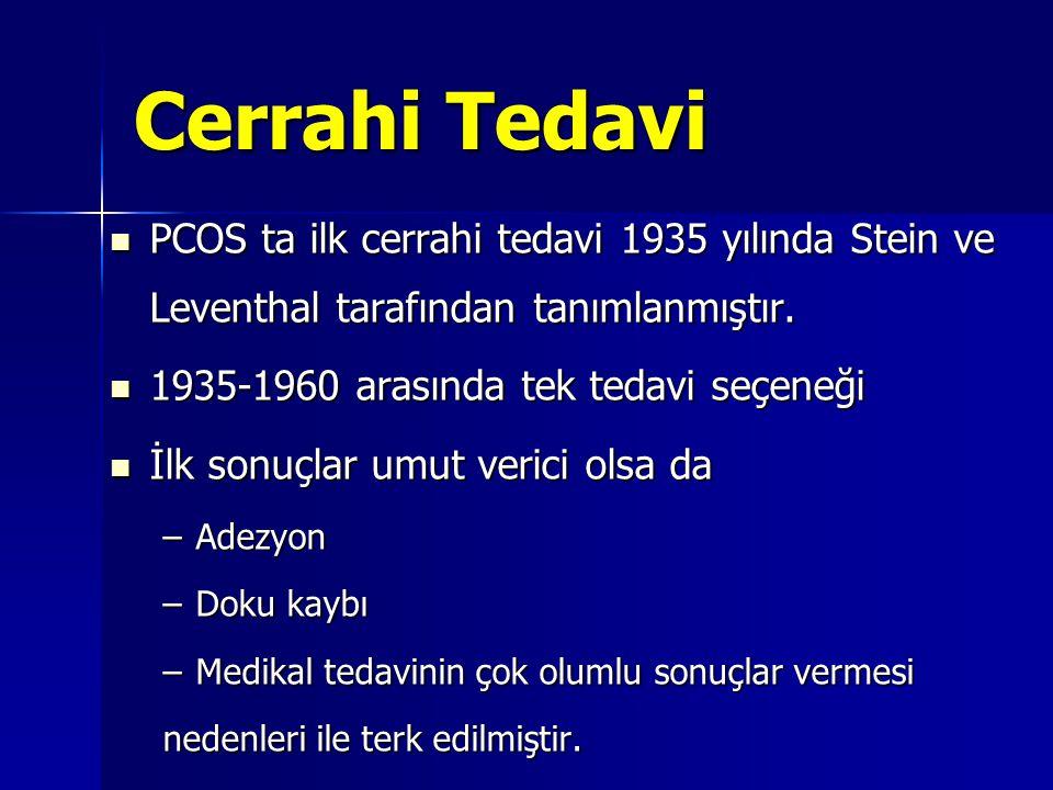 Cerrahi Tedavi  PCOS ta ilk cerrahi tedavi 1935 yılında Stein ve Leventhal tarafından tanımlanmıştır.  1935-1960 arasında tek tedavi seçeneği  İlk