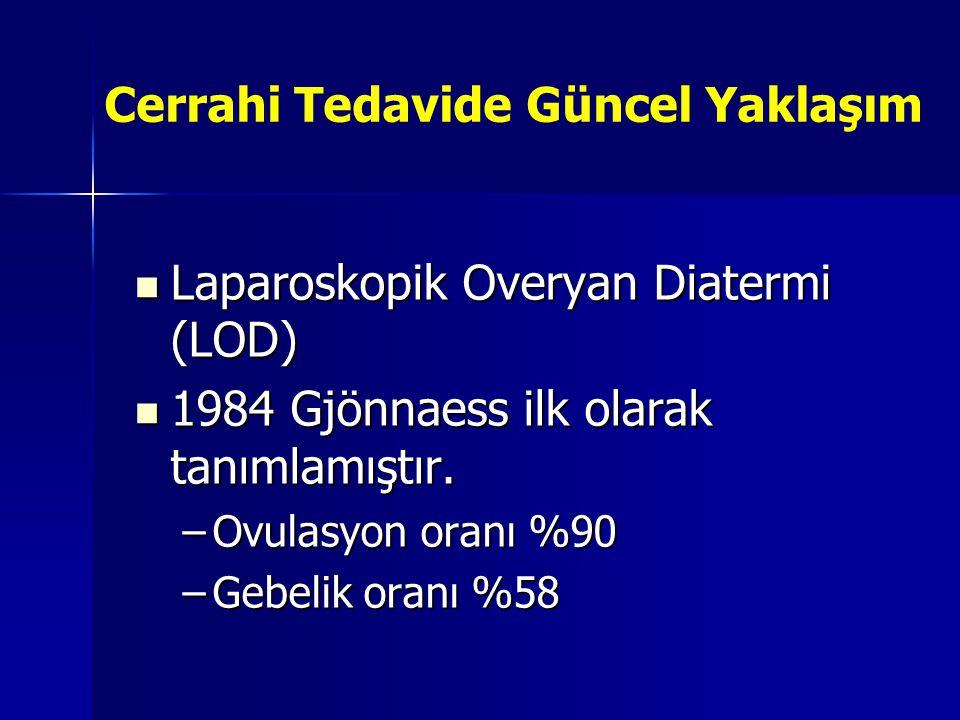 Cerrahi Tedavide Güncel Yaklaşım  Laparoskopik Overyan Diatermi (LOD)  1984 Gjönnaess ilk olarak tanımlamıştır. –Ovulasyon oranı %90 –Gebelik oranı