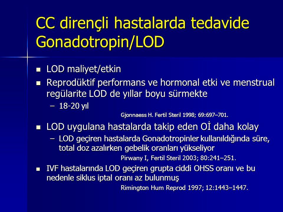 LOD maliyet/etkin  Reprodüktif performans ve hormonal etki ve menstrual regülarite LOD de yıllar boyu sürmekte –18-20 yıl Gjonnaess H. Fertil Steri