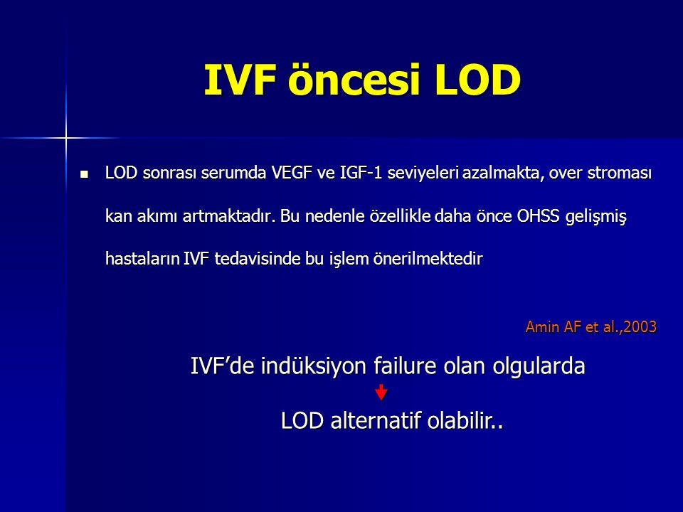 IVF öncesi LOD  LOD sonrası serumda VEGF ve IGF-1 seviyeleri azalmakta, over stroması kan akımı artmaktadır. Bu nedenle özellikle daha önce OHSS geli