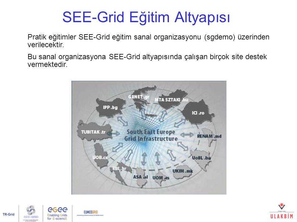 Pratik eğitimler SEE-Grid eğitim sanal organizasyonu (sgdemo) üzerinden verilecektir.