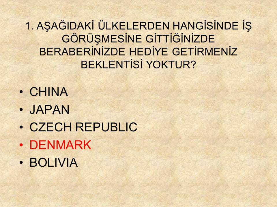 1. AŞAĞIDAKİ ÜLKELERDEN HANGİSİNDE İŞ GÖRÜŞMESİNE GİTTİĞİNİZDE BERABERİNİZDE HEDİYE GETİRMENİZ BEKLENTİSİ YOKTUR? •CHINA •JAPAN •CZECH REPUBLIC •DENMA