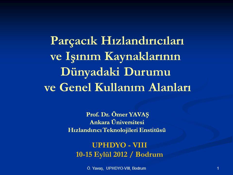 Parçacık Hızlandırıcıları ve Işınım Kaynaklarının Dünyadaki Durumu ve Genel Kullanım Alanları Prof. Dr. Ömer YAVAŞ Ankara Üniversitesi Hızlandırıcı Te