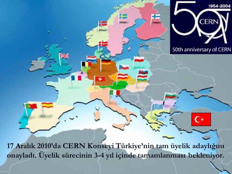 11Ö. Yavaş, UPHDYO-VIII, Bodrum 17 Aralık 2010'da CERN Konseyi Türkiye'nin tam üyelik adaylığını onayladı. Üyelik sürecinin 3-4 yıl içinde tamamlanmas