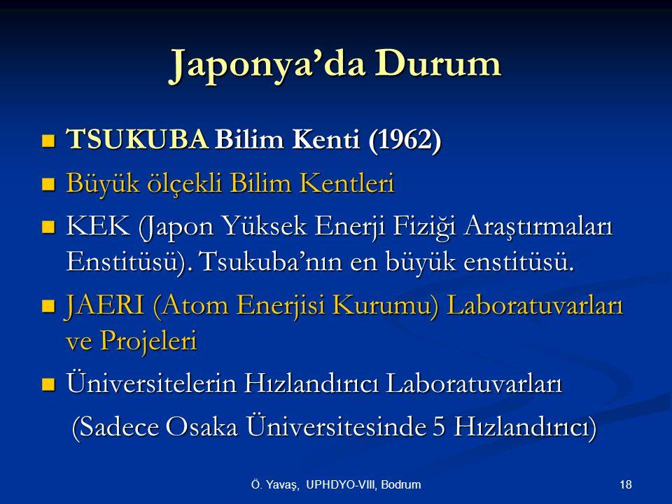 18Ö. Yavaş, UPHDYO-VIII, Bodrum Japonya'da Durum  TSUKUBA Bilim Kenti (1962)  Büyük ölçekli Bilim Kentleri  KEK (Japon Yüksek Enerji Fiziği Araştır